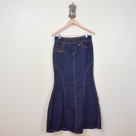 8e510c6fbf82d Bisou Bisou Skirts | Dark Wash Mermaid Denim Skirt | Poshmark